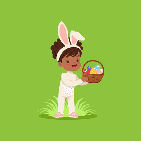 Beautiful little girl with bunny ears and rabbit costume standing with basket full of painted eggs, kid having fun on Easter egg hunt vector Illustration on a lawn green background.