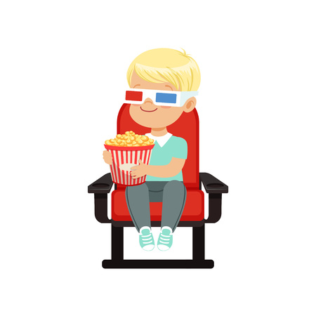 Cute blonde little boy in 3d glasses sitting on a red chair and watching 3D movie in the cinema vector Illustration.