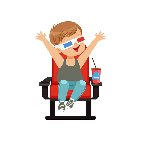 Cute little boy in 3d glasses sitting on a red chair, drinking soda and watching 3D movie in the cinema vector Illustration. Illustration