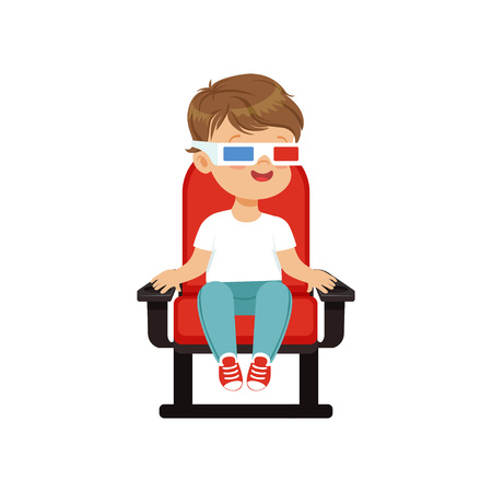 Cute little boy in 3d glasses sitting on a red chair and watching 3D movie in the cinema vector Illustration. Illustration
