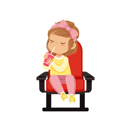 Sweet little girl in 3d glasses sitting on a red chair, drinking soda and watching 3D movie in the cinema vector Illustration.