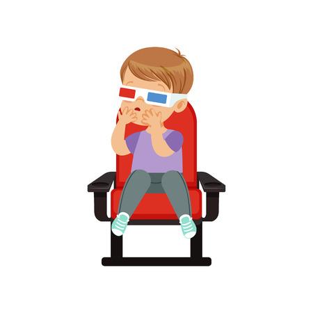 달콤한 작은 소년 3D 안경 빨간색의 자에 앉아서 영화관에서 3D 영화를보고 벡터 일러스트 레이 션.