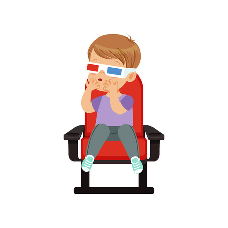 Sweet little boy in 3d glasses sitting on a red chair and watching 3D movie in the cinema vector Illustration.