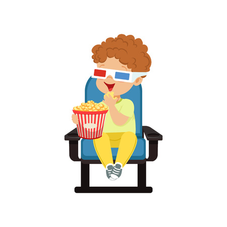Cute little boy in 3d glasses sitting on a blue chair, eating popcorn and watching 3D movie in the cinema vector Illustration.