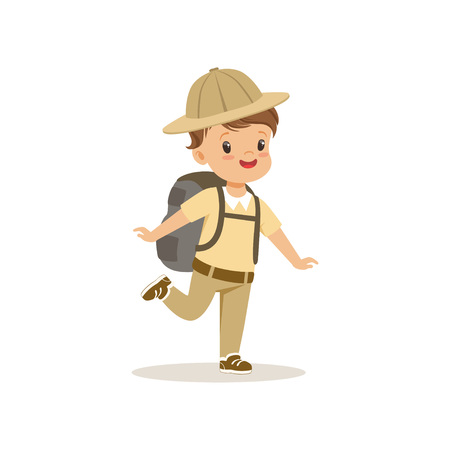 Cute little boy in scout costume with backpack, outdoor camp activity vector Illustration.