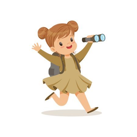 Beautiful little girl in scout costume running with backpack and binocular, outdoor camp activity vector Illustration. Illustration