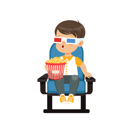 Cute astonished little boy in 3d glasses sitting on a blue chair, eating popcorn and watching 3D movie in the cinema vector Illustration 矢量图像