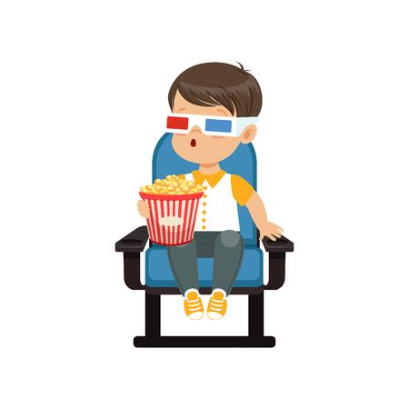 Netter erstaunter kleiner Junge in den Gläsern 3d, die auf einem blauen Stuhl sitzen, Popcorn essen und Film 3D in der Kinovektorillustration aufpassen Standard-Bild - 92417491
