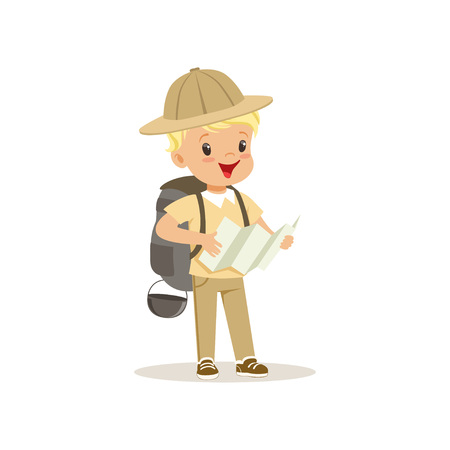 Cute little boy in scout costume with backpack holding a tourist map, outdoor camp activity vector Illustration. Иллюстрация