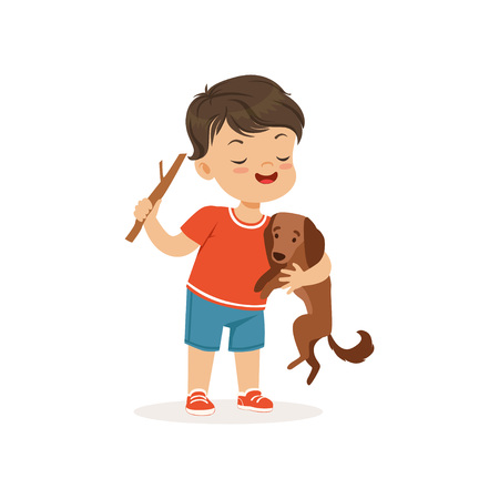 Cute bully boy teasing little dog, hoodlum cheerful little kid, bad child behavior vector Illustration.