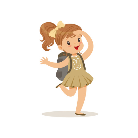배낭, 야외 캠프 활동 벡터 스카우트 의상을 입고 아름 다운 행복 소녀 벡터 일러스트 레이 션.