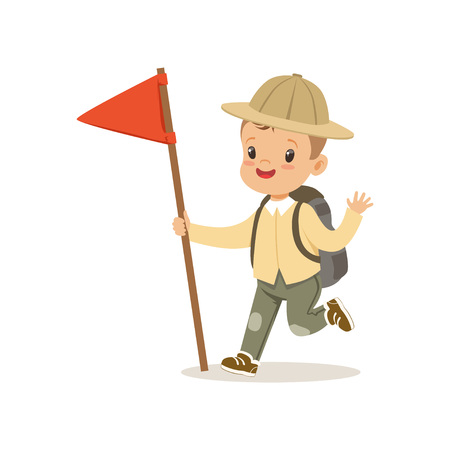 Cute little boy in scout costume with backpack and red flag, outdoor camp activity vector Illustration.