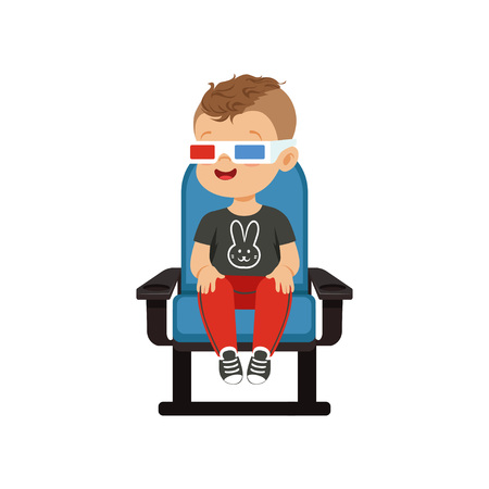 Smiling little boy in 3d glasses sitting on a blue chair and watching 3D movie in the cinema vector Illustration