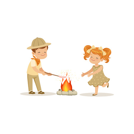 Kids in scout costumes near the bonfire, boy frying his marshmallows, outdoor camp activity vector Illustration