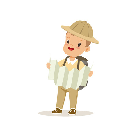 Cute little boy in scout costume with backpack orienteering with map, outdoor camp activity vector Illustration