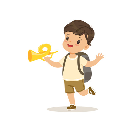 Cute little boy in scout costume blowing horn, outdoor camp activity vector Illustration