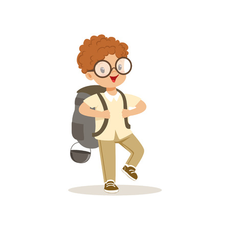 Cute little boy in scout costume walking with backpack, outdoor camp activity vector Illustration Illustration