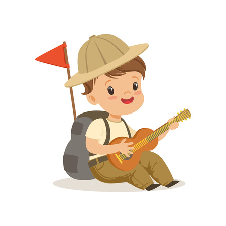 Cute little boy in scout costume playing guitar, outdoor camp activity vector Illustration Çizim