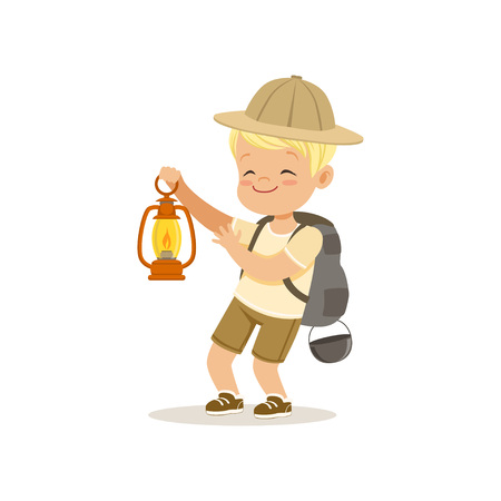 Cute little boy in scout costume with backpack holding gas lamp, outdoor camp activity vector Illustration