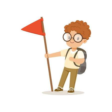 Cute little boy in scout costume standing with red flag, outdoor camp activity vector Illustration