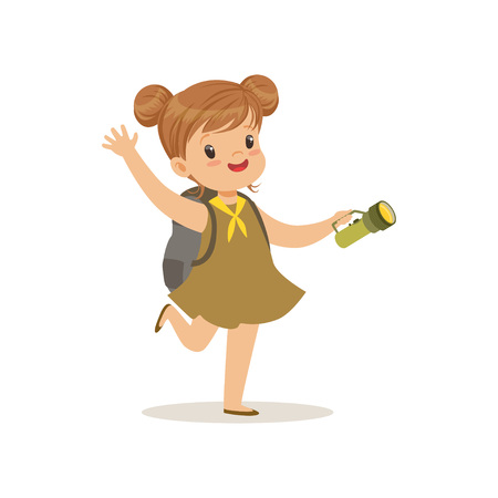 Lovely little girl in scout dress with flashlight, outdoor camp activity vector Illustration