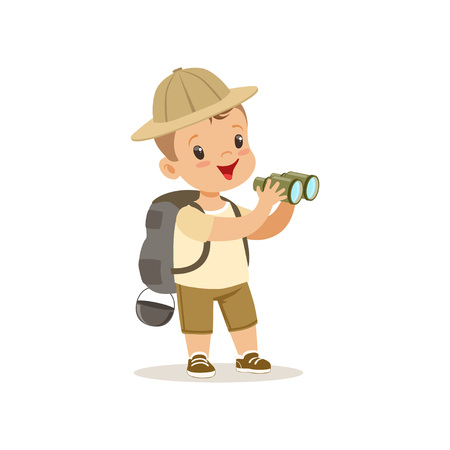 Cute little boy in scout costume with backpack and binoculars, outdoor camp activity vector Illustration