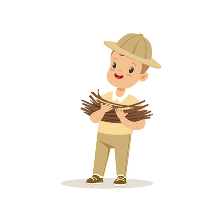 Cute little boy in scout costume bringing some firewood, outdoor camp activity vector Illustration Banco de Imagens