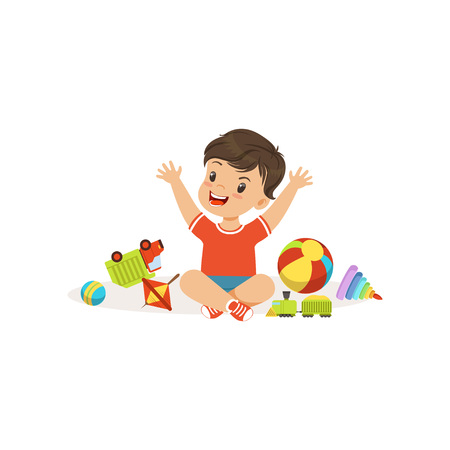 Bully boy playing and breaking his toys, hoodlum cheerful little kid, bad child behavior vector Illustration on a white background