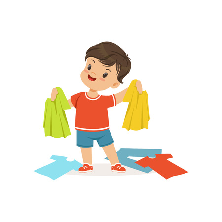 Cute little bully boy standing among scattered clothes, hoodlum cheerful little kid, bad child behavior vector Illustration Illustration