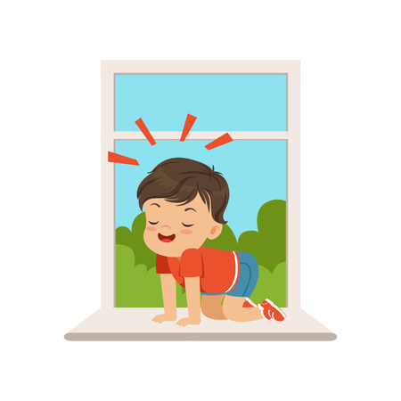 Cute little bully boy sitting on the windowsill at the open window, hoodlum cheerful little kid, bad child behavior vector Illustration Illustration