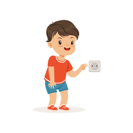 Cute little bully boy sticking his fingers into an electrical outlet, hoodlum cheerful little kid, bad child behavior vector Illustration