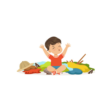 Funny little bully boy sitting among scattered clothes, hoodlum cheerful little kid, bad child behavior vector Illustration on a white background
