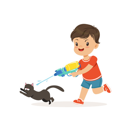 Cute bully boy pouring a black cat out of a water gun, hoodlum cheerful little kid, bad child behavior vector Illustration Ilustracja