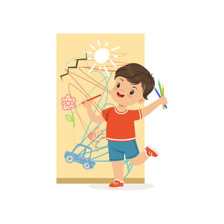 Cute little bully boy drawing on the wall, hoodlum cheerful little kid, bad child behavior vector Illustration Vettoriali