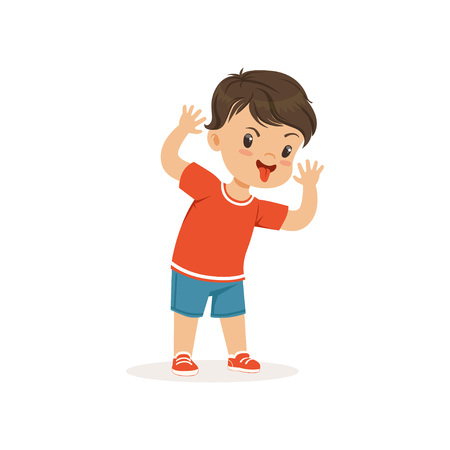 Funny bully boy grimacing, hoodlum cheerful little kid, bad child behavior vector Illustration Illustration