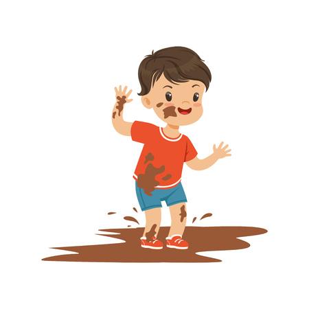Ładny chłopiec bully skoki w brud, chuligan wesoły małe dziecko, złe zachowanie dziecka wektor ilustracja
