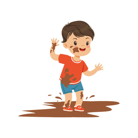 Cute bully boy jumping in a dirt, hoodlum cheerful little kid, bad child behavior vector Illustration