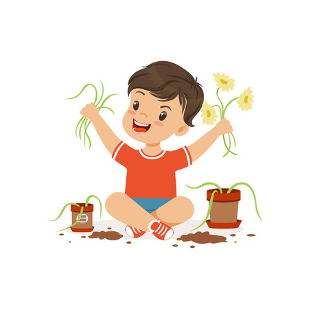 Cute little bully boy sitting on the floor and tearing flowers from pots, hoodlum cheerful little kid, bad child behavior vector Illustration