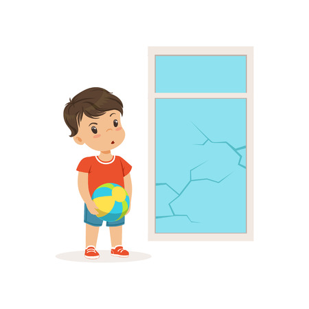 Cute little bully boy crashed the window with ball, hoodlum cheerful little kid, bad child behavior vector Illustration
