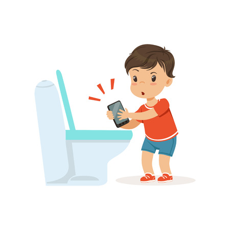 Cute little bully boy throwing phone into the toilet, hoodlum cheerful little kid, bad child behavior vector Illustration