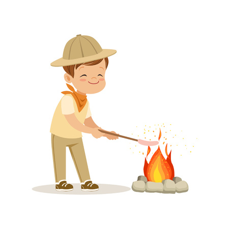 Cute little boy in scout costume frying his marshmallows on bonfire, outdoor camp activity vector Illustration
