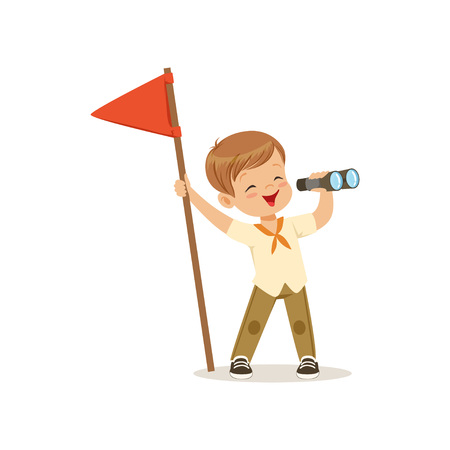 Cute little boy in scout costume with red flag looking through binoculars, outdoor camp activity vector Illustration on a white background Ilustrace