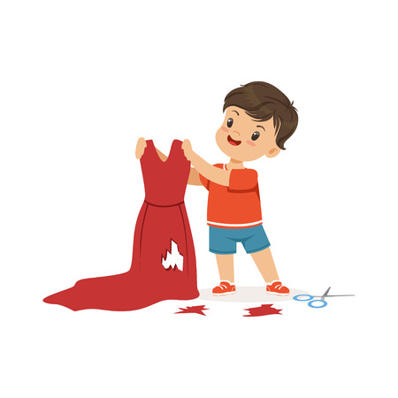 Cute little bully boy cutting red mothers dress, hoodlum cheerful little kid, bad child behavior vector Illustration
