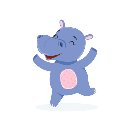 Funny happy baby hippo character jumping, cute behemoth African animal vector Illustration on a white background