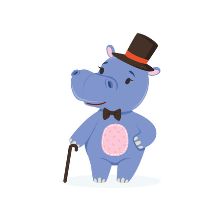 Funny baby hippo character wearing top hat and bow tie standing with cane, cute behemoth African animal vector Illustration Illustration