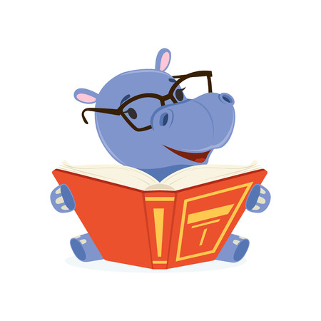 Funny baby hippo character wearing glasses sitting and reading a book, cute behemoth African animal vector Illustration Illustration
