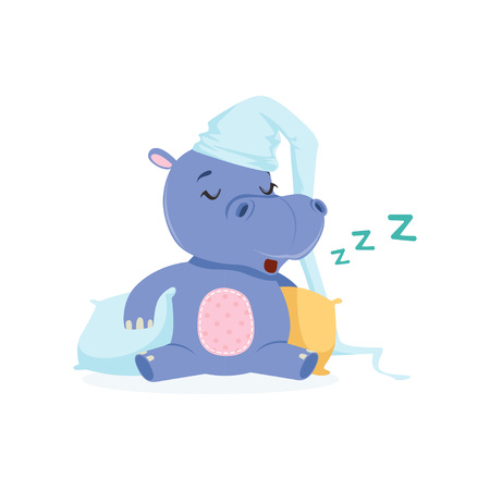Funny baby hippo character in a hat sleeping on a pillow, cute behemoth African animal vector Illustration on a white background