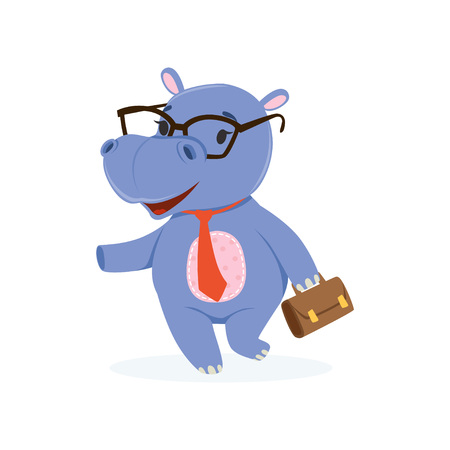 Funny baby hippo businessman character in glasses with briefcase, cute behemoth African animal vector Illustration on a white background Illustration