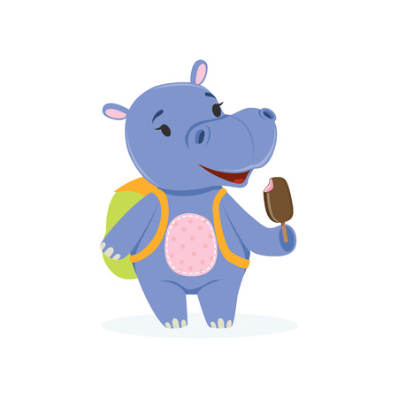 Funny baby hippo character with backpack eating ice cream, cute behemoth African animal vector Illustration on a white background Illustration