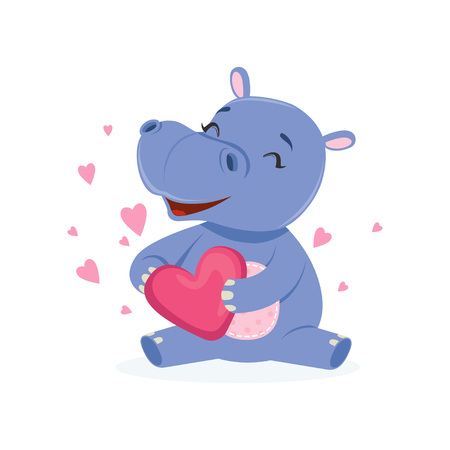 Funny happy baby hippo character sitting on the floor and holding pink heart, cute behemoth African animal vector Illustration on a white background Vectores